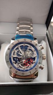 Relógio Kj008 Bv Azul Linha Venom Pulseira De Aço Prata