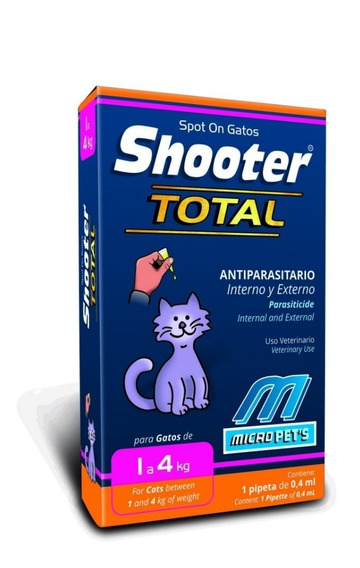 Pipeta Shooter Gatos 1 A 4 Kg Parásitos Internos Y Ext 0,4ml