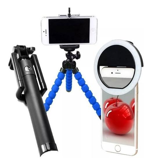 Kit Youtuber Bastão Selfie Bluetooth Tripé Flexivel Luz Led