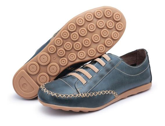 Sapato Tênis Sapatilha Feminina Em Couro 100% Legítimo 2018