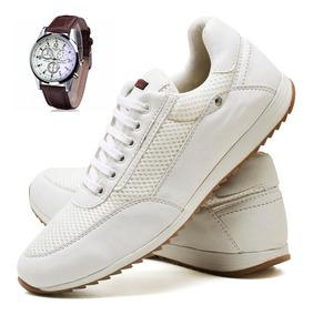 Kit Relógio + Sapatenis Tênis Couro Jogger Masculino 2x1