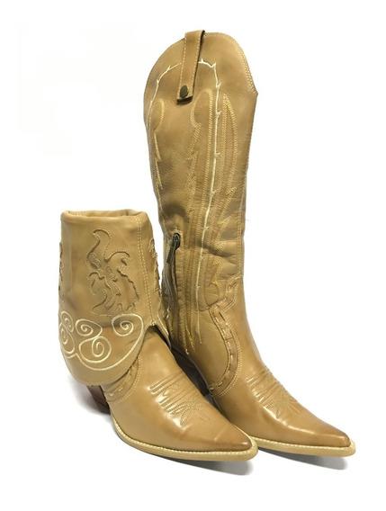 Bota Texana Country Feminina Vimar 2 Em 1 Bico Fino Cano Alto Ou Curto Com Bordados Couro Legítimo - Super Confortável!