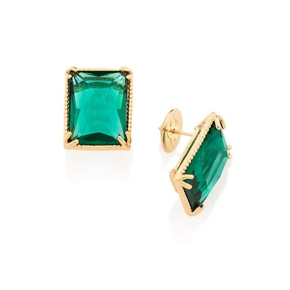 Brinco Retangular Solitário Cristal Verde Rommanel 526134