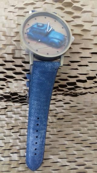 Relógio Pulso Masculino,fusca , Pulseira Jeans, Cod. 00361