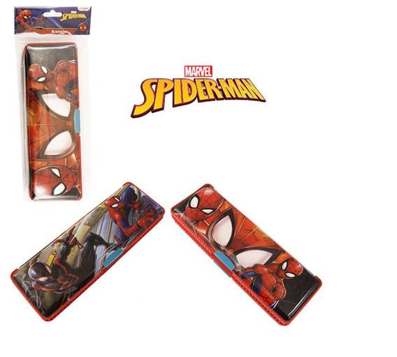 Estojo Escolar Retangular Com Duas Divisórias Spider-man