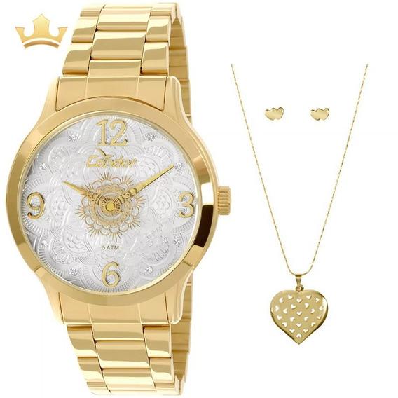 Relógio Condor Feminino Kit Co2036ck/k4b Com Nf