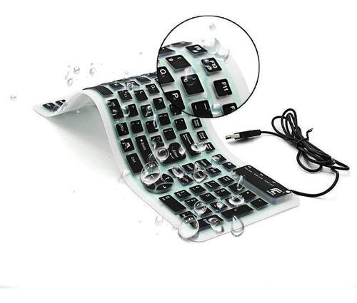 Imagen 1 de 6 de Teclado Externo Chinfai Computadora Portátil, Enrollable Sil