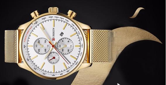 Relógio Masculino Dourado Social Curren Original