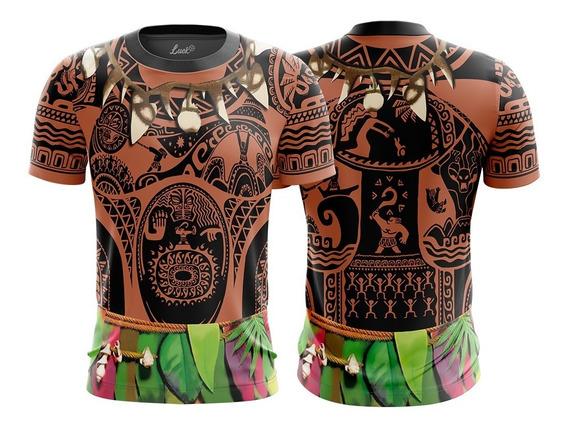 Camiseta Infantil E Adulto Mauí Filme Moana