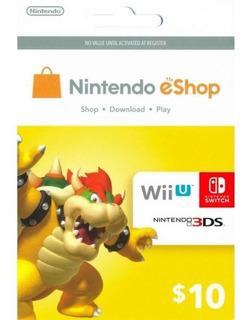 Cartão Nintendo 3ds Switch Wii U Eshop Cash Card 10 Dolares