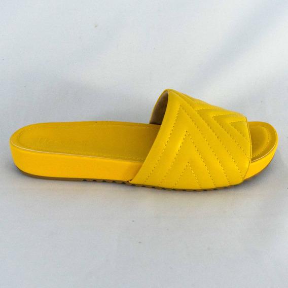 Chinelo Usaflex Ac4004 Slide Couro Pelica Amarelo