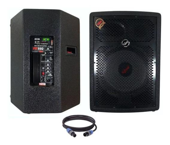 Kit Caixa De Som Ativa E Passiva Leacs Fit550 15 400w
