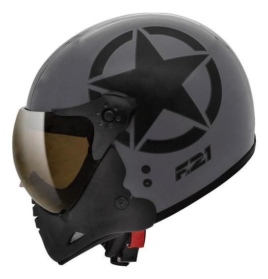 Capacete para moto Peels F-21 Army preto-chumboS