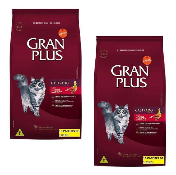 Kit 2un Ração Gran Plus Gato Castrados Carne 10x De 1kg Cada