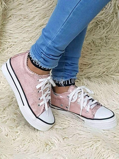 Zapatillas Simil All Star Rosa Brillo Glitter Plataforma