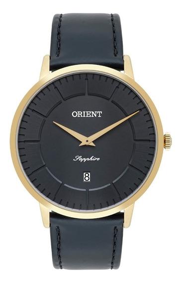 Relógio Orient Masculino Fino Slim Vidro Safira Couro Preto