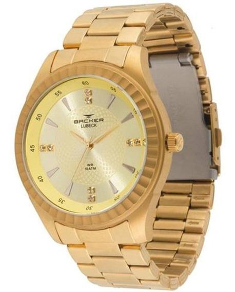 Relógio Backer Feminino Dourado Lube 6302275m Ch