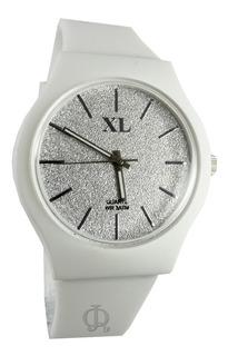 Reloj Xl Extra Large Dama Xl712 Glitter Malla Caucho