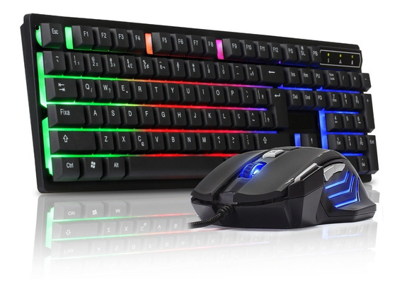 Kit Teclado Gamer Semi Mecânico Pc Led Usb Mouse Para Jogos