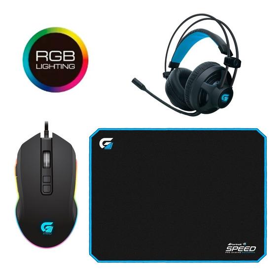 Kit Gamer Fone Com Microfone, Mouse Óptico E Mousepad Grande