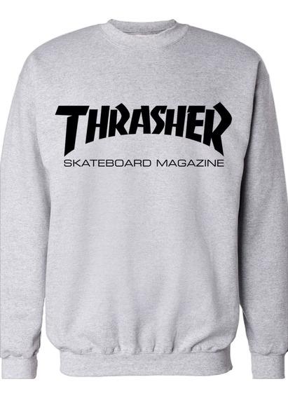 Buzo Gris Cuello Redondo Thrasher Skateboard Magazine