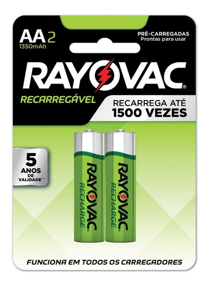 Pilhas Recarregaveis Aa Rayovac 1350 Mah 1,2v Para Controle