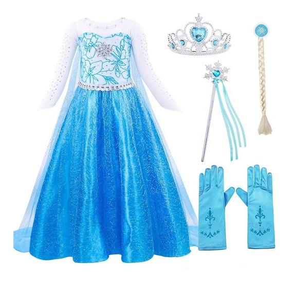 Disfraz Frozen Elsa Vestido Corona Trenza Varita Y Guantes
