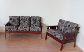 Conjunto De Sofá Em Madeira 3+2 Lugares Com Almofadas Flocos