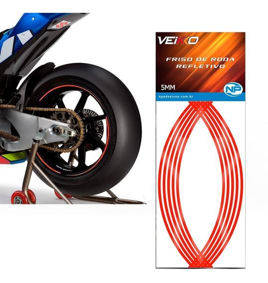 Adesivo Friso Fita Faixa Refletivo Roda Moto 5mm Vermelha