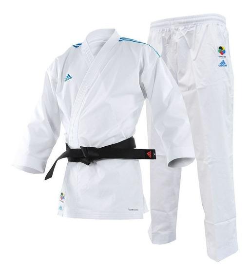 Kimono Karate adidas Adilight Branco Listras Azul-160