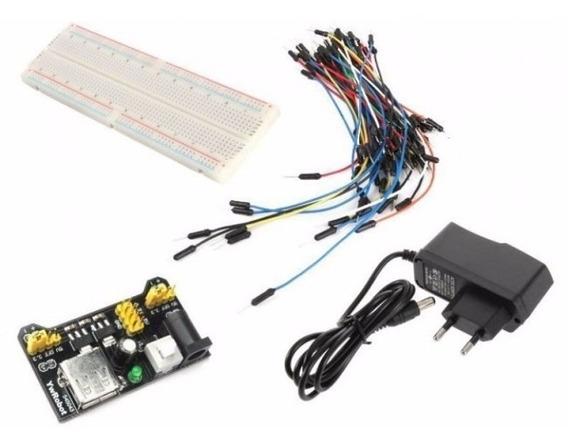 Kit Protoboard Com Fonte Ajustável, 65 Jumpers + Fonte 9v 1a