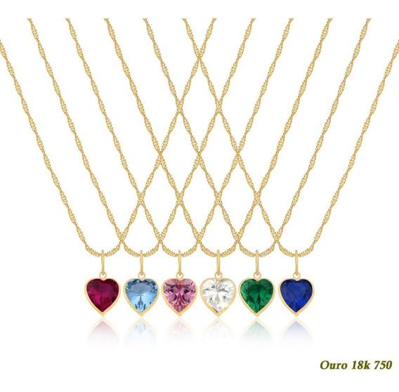 Cordão Feminino Ouro 18k750 50cm P De Luz Coração