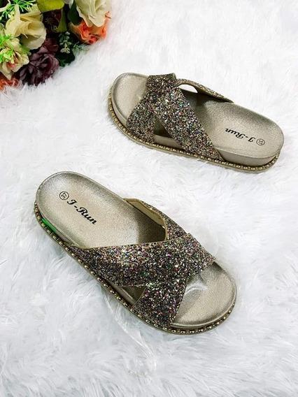 Ojotas Zuecos Suecos Sandalias Cruzadas Glitter Importadas