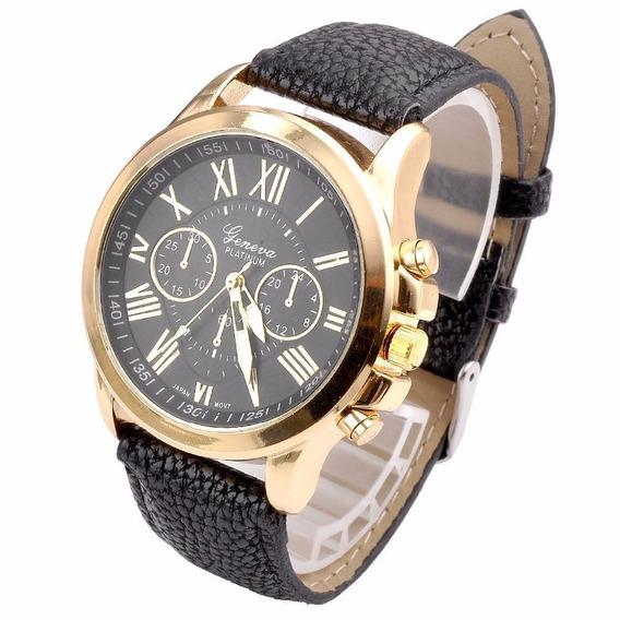 Relógio Feminino Dourado Pulseira Preto Rg001f Promoção!!!