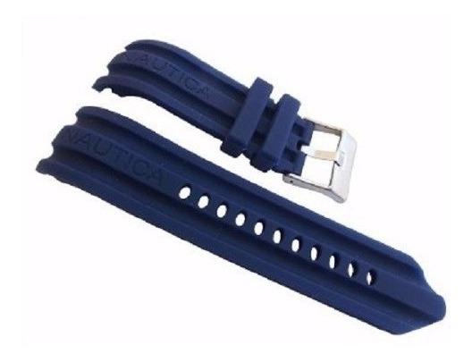 Pulseira Nautica 24mm Azul Silicone