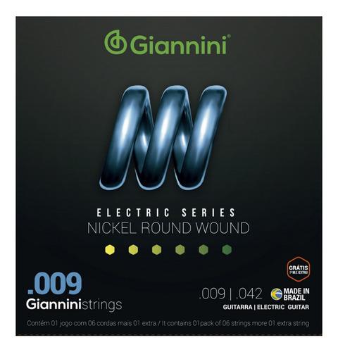 Imagem 1 de 3 de Encordoamento Giannini Para Guitarra Niquel 009 + Nf!