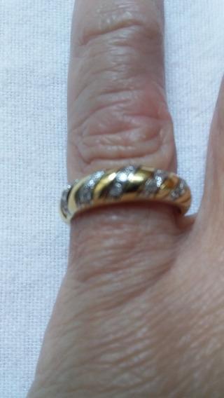 Anel Meia Aliança Aparador Ouro Amarelo 18k Diamante 3.50gr
