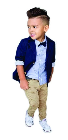 Roupa Esporte Fino Infantil Blazer Azul Menino Do 1 A 7 Anos