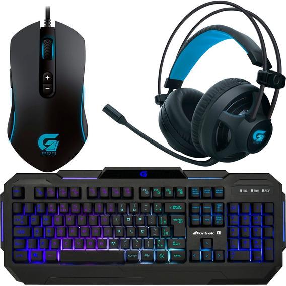 Kit Gamer Pc Iluminado Teclado Mouse E Headset Fortrek + Nfe