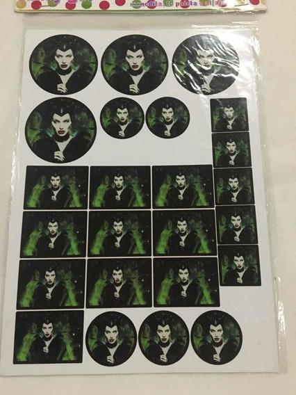 70 Stickers Para Candy De Malefica