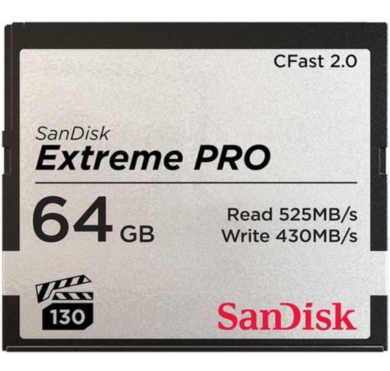 Cfast 64gb Sandisk Extreme Pro 525mb/s 2.0 C/ Nf Lançamento