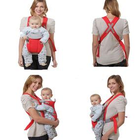 Bolsa Canguru Vermelha Bebê Com Babador Removível 3 Posições