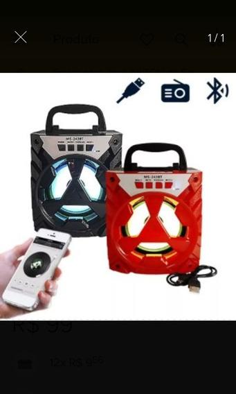Caixa De Som Bluetooth 8w C/ Usb Tf / Aux / Fm Ms-243tb