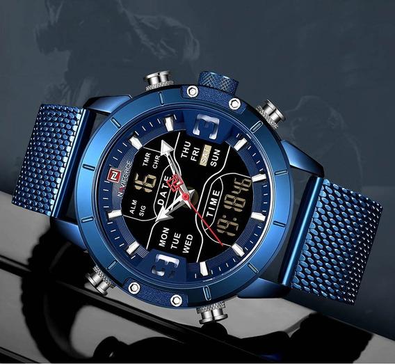 Relógio Naviforce Aço Pulseira De Malha De Aço Nf9153