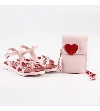 Sandália Infantil Candy + Bolsinha De Pescoço Corações
