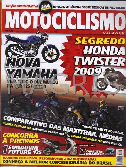 Frete Grátis Motociclismo 8/2008 Twister, Ybr 125 Factor, V-