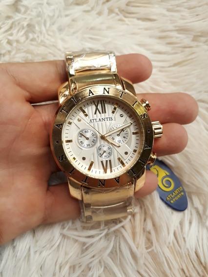 Relógio Atlantis Masculino Dourado Modelo A3310 Original