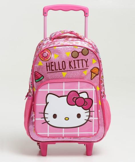 Mochila Infantil Escolar Rodinha Hello Kitty Xeryus