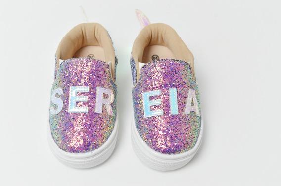 Tênis Slip On Feminino Infantil Sereia Furta-cor