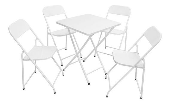 Conjunto Mesa De Ferro Dobrável Com 4 Cadeiras América -